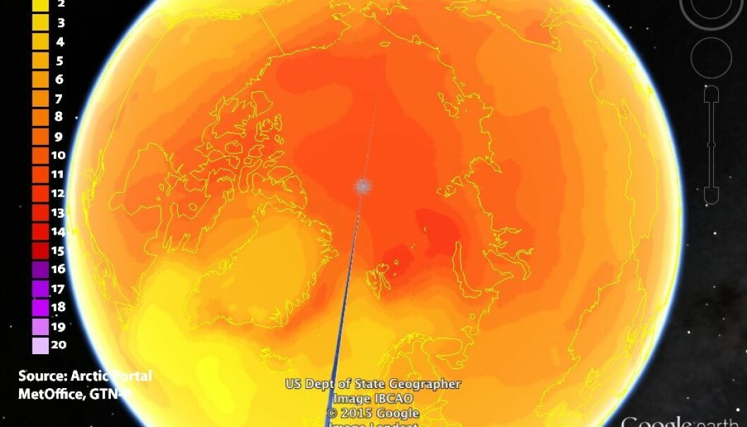 "In the new database anyone can play at being an Arctic scientist. Here you can see how temperatures are predicted to change in permafrost regions by the end of the century in a <a href=""http://gtnp.arcticportal.org/index.php/resources/maps"" target=""_blank"">series of maps</a> that can be viewed in Google Earth. The map uses data from the NorESM1-M climate model, developed by the Norwegian Climate Centre (Image: GTN-P Database, downloadable map viewed in Google Earth)."