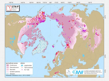 A map showing the extent of permafrost across the northern hemisphere in purple shading. You can also see the location of data included in the new database, shown by the red and purple dots. (Image: GTN-P Database)