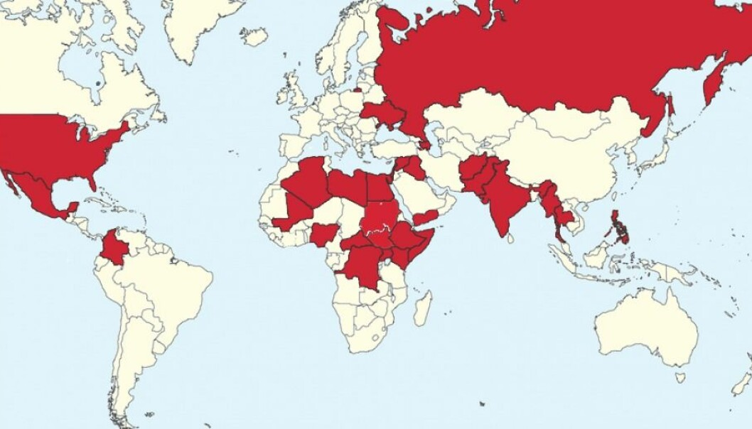 People in the countries coloured red were killed in 2014 by organised violence. (Image: UCDP, Uppsala University's Conflict Data Program)