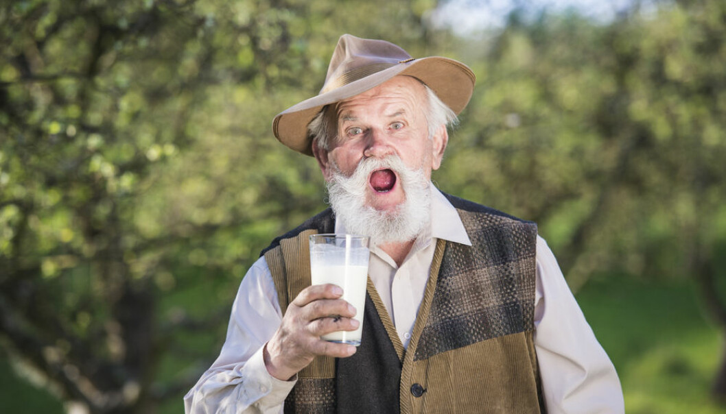 """It is still not known whether milk can increase your chance of developing cancer, cardiovascular disease, or even a premature death. Bigger and more standardised studies are needed, say scientists. (Photo: <a href=http://www.shutterstock.com/da/pic-285280319/stock-photo-senior-farmer-with-a-glass-of-milk-outside-in-green-nature.html  target=""""blank_"""">Shutterstock</a>)."""