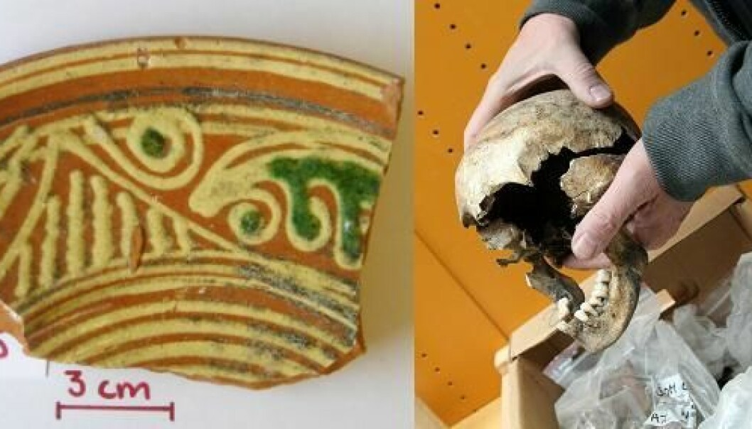 These expensive ceramics were a status symbol for the wealthy urbanites in the Middle Ages, but they also exposed them to dangerous lead poisoning. (Photo (left): Kaare Lund Rasmussen. Photo (right): Birgitte Svennevig)