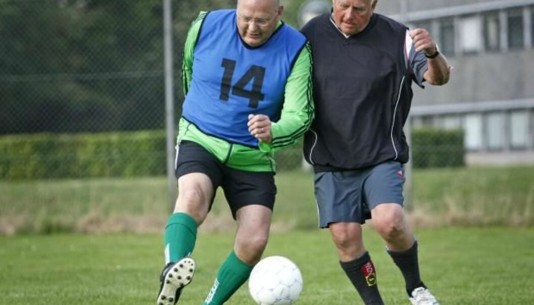 The stop-start of football training helps older men with prostate cancer strengthen their bones. (Photo: Christian Midtgaard)