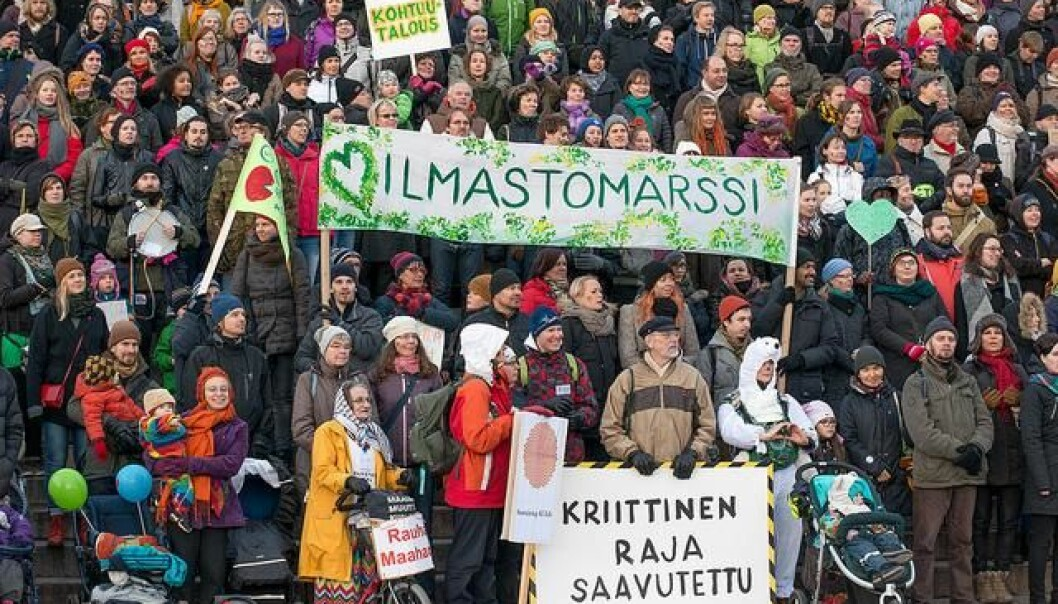 "Citizens march for climate in Helsinki ahead of the COP21 meeting in Paris. But when the meeting is over and the dust has settled, will we really be ready to face climate change in the future? (Photo: <a href=https://www.flickr.com/photos/timoheinonen/23128634680 Target=""blank_"">Flickr Timo Heinonen</a>)"