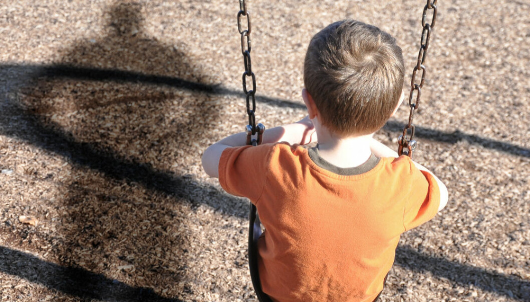 "Adults who were frequently bullied as kids, or were both bullied and a bully, are twice as likely to suffer from psychiatric disorders that requires treatment, says new research. (Photo: <a href= http://www.shutterstock.com/da/pic-121428757/stock-photo-a-young-boy-is-sitting-on-a-swing-set-and-looking-at-a-shadow-figure-of-a-man-or-bully-at-a.html target=""blank_"">Shutterstock</a>)"