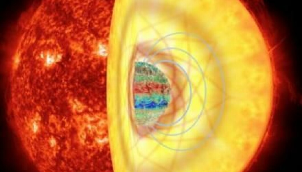 A star's inner magnetic field can change the way waves propagate through it. (Illustration: RA García, K. Augustson, J. Fuller, G. Pérez / AIA / SDO)