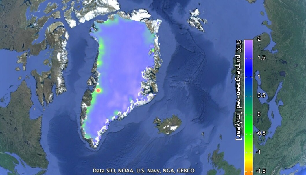 Change in height of the Greenland Ice Sheet between 2007 and 2011. Purple indicates a gain in height, green and red indicates ice loss around the margins of the ice sheet. (Photo: Screenshot of the Greenland Ice CCI data viewed in Google Earth)