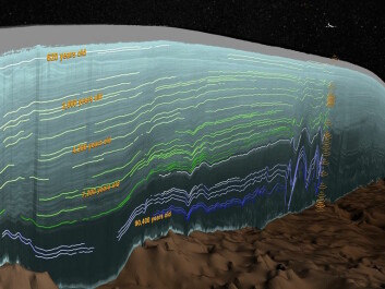 "Here you can see the ice layers of the Greenland ice sheet, collected by radar-stratigraphy on a single flight in 2011. Green lines show ice layers formed after 11,700 years ago. It is these layers of hard ice that have caused large parts of the ice sheet to decelerate (Photo: <a href=https://svs.gsfc.nasa.gov/cgi-bin/details.cgi?aid=4249  target=""blank_"">NASA's Scientific Visualization Studio</a>)"