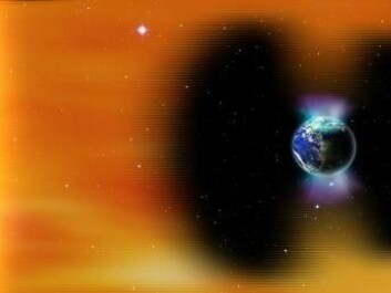 "Solar storms can damage the ozone layer, which protects us from harmful ultraviolet radiation from the Sun. Without it, the Earth would be exposed to dangerous levels of cancer-causing UV-radiation. (Photo: <a href=http://www.shutterstock.com/da/pic-371170769/stock-photo-planet-earth-s-magnetic-field-against-sun-s-solar-wind-and-aurora-elements-of-this-image-furnished.html target=""blank_"">Shutterstock</a>)"