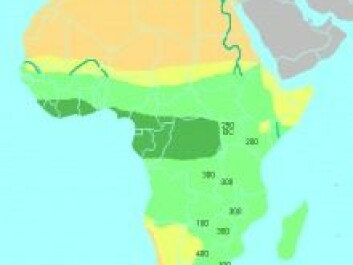 The dark green area in the map shows the tropical rainforest where charcoal is used to fertilise the soil. (Photo: Wikipedia).