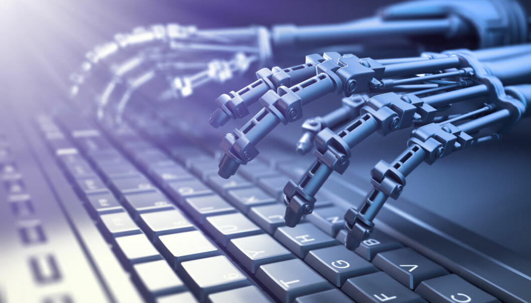 "Artificial intelligence will hopefully not lead to a sci-fi dystopia, but to a happy and productive union between man and machine (Photo: <a href=http://www.shutterstock.com/da/pic-400106332/stock-photo-robot-typing-on-a-computer-keyboard-automation-and-ai-research-concept-d-illustration.html target=""_blank"">Shutterstock</a>)"