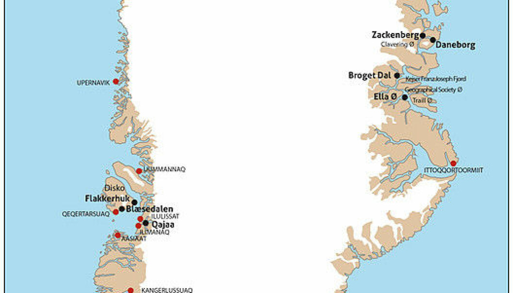 The new book presents five years of research from the Center for Permafrost, University of Copenhagen, and covers the ice-free margins of Greenland from the Polar north, to Zackenberg research station on the east coast, to the farming south, and Disko Bay on the west coast. (Map: Bo Elberling)