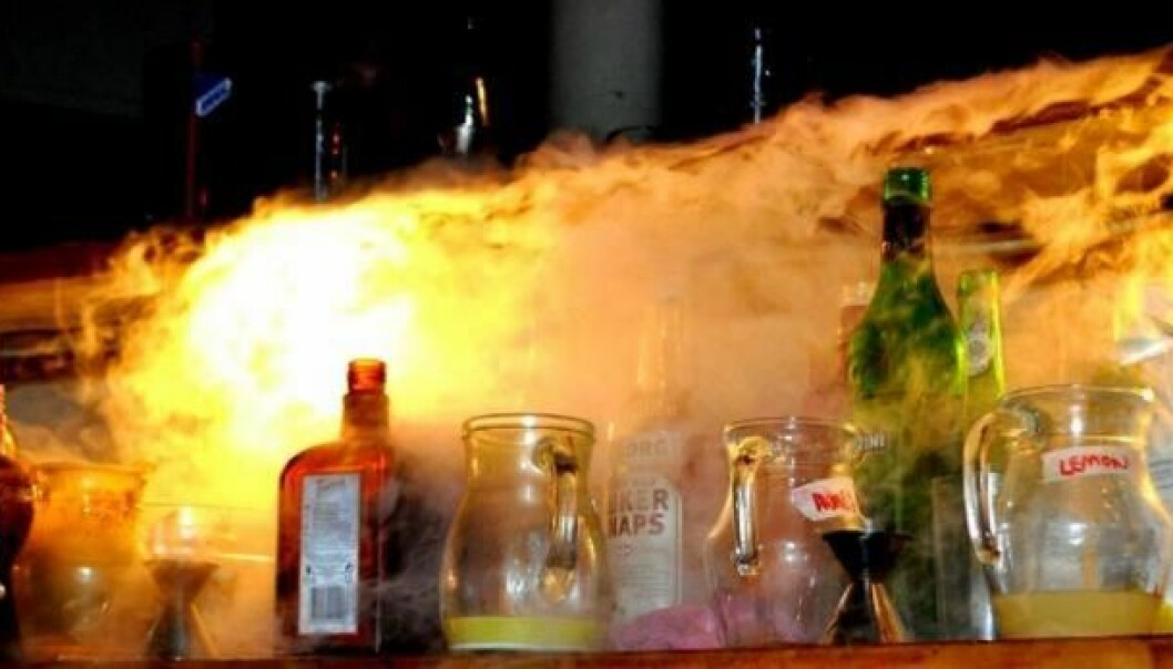Between 300 and 600 people attend Science and Cocktails lectures, where the drinks are inspired by the scientific world with smoking dry ice and the audience are entertained by concerts in-between speakers (Photo: Science and Cocktails)