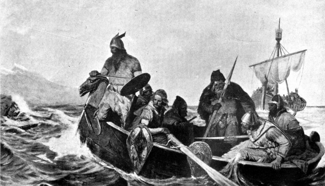 Ancient stereotypes of the far North as a barbaric and primitive place thrive together with more modern images of wealth and progress. (Painting: Norsemen Landing in Iceland, by Oscar Wergeland)