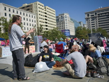 A discussion unfolds at Occupy DC in 2011. (Photo: EPA)