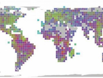 This map shows where scientists have the most and the least information about genetic diversity. Green shading indicates good data coverage of both species and the genetics. Purple indicates where scientists have the least data. Best coverage occurs in highly populated areas of the USA, Europe and East Asia, where diversity is also lowest. (Graphic: Science/Miraldo et al.)
