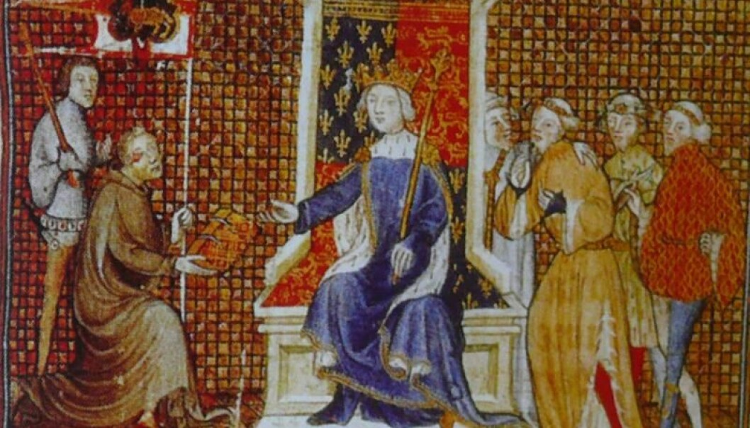 Philippe de Mézières kneels for Richard II of England. He was a royal advisor, a type of medieval spin-doctor. (Photo: Wkikimedia)