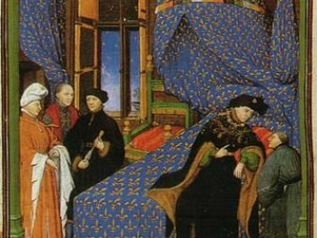 """Illustration from Pierre Salmon's """"Dialogues"""". The author sits at the foot of Charles VI. (Photo: Wikimedia)"""