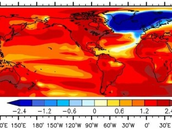 They new study predicts rapid cooling across the northern hemisphere after the AMOC has shutdown, shown by blue shading. (Illustration: Liu et al., Science Advances 2016).
