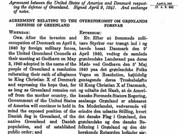 The Defence of Greenland Act 1941, US Congressional Records. When Germany occupied Denmark during the Second World War, the USA took responsibility for the defence of the island. You can read the full document at the bottom of the article. (Photo: ScienceNordic)
