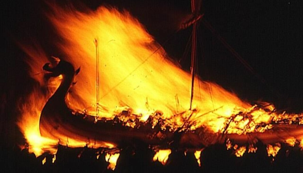 In ancient times, the size of a funeral pyre often reflected your social status. Some cremations were small, while others were more spectacular affairs, like this cremation on board a Viking ship. (Photo: Anne Burgess/Wikimedia)