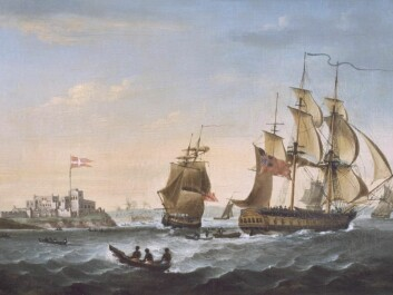 Christianborg Fort in Ghana, west Africa in the 1800s. Back then it was a Danish colony and the region was known as the Gold Coast. (Credit: M/S Maritime Museum. Painting by G. Webster)