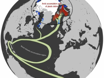 "The red-orange dots show the ""plastic islands"" in the Barents Sea (north of Norway) and the Greenland Sea (east of Greenland), where plastic waste from the USA and Europe has been accumulating in recent decades. (Illustration: Andres Cozar)"