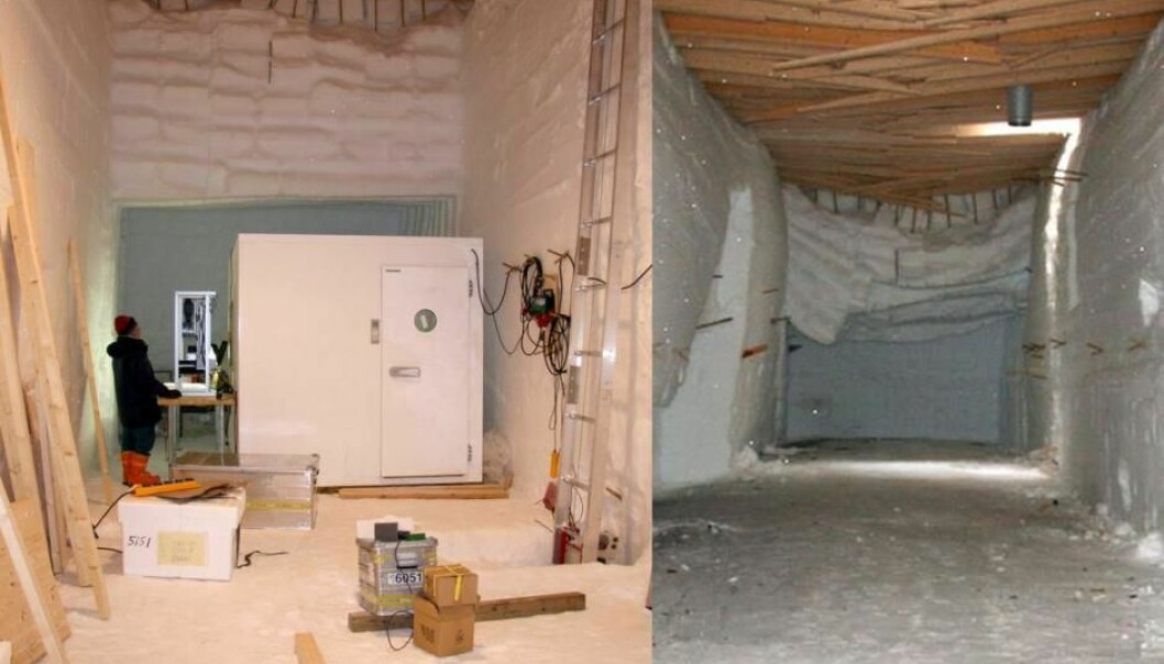 Snow exerts pressure on a wooden ceiling and makes it unusable in just a few years. The same hole in 2009 and 2012. The ceiling has fallen from 4.6 to 3.25 metres and many of the beams are now broken. (Photos: J. P. Steffensen)