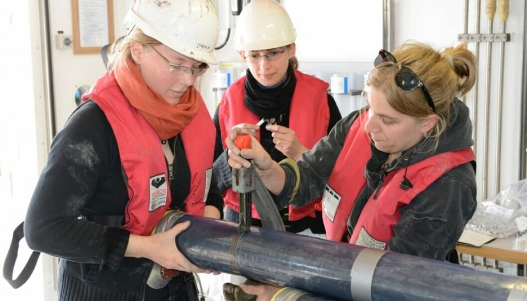 The scientists on board Aarhus University's research vessel, Aurora, where they are collecting sediment cores. (Photo: Bo Barker Jørgensen)