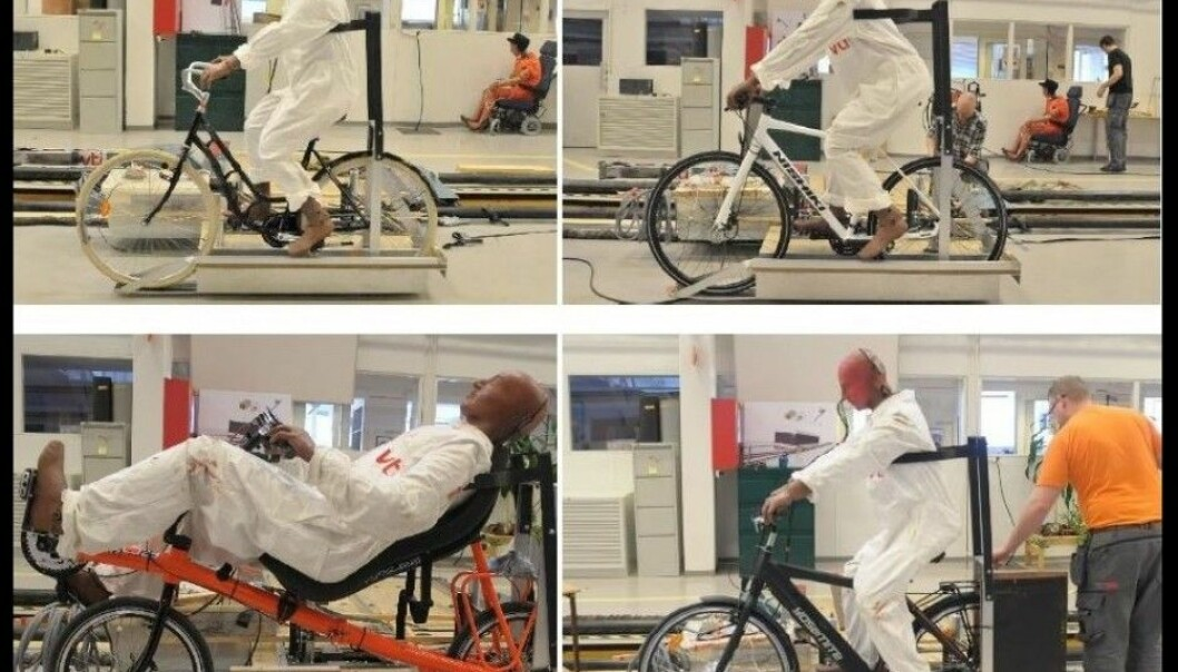 Here are the four bicycles that were scientifically tested – and the unfortunate crash-test dummies that went along for short rides. (Photo: Jan Wenäll, VTI)