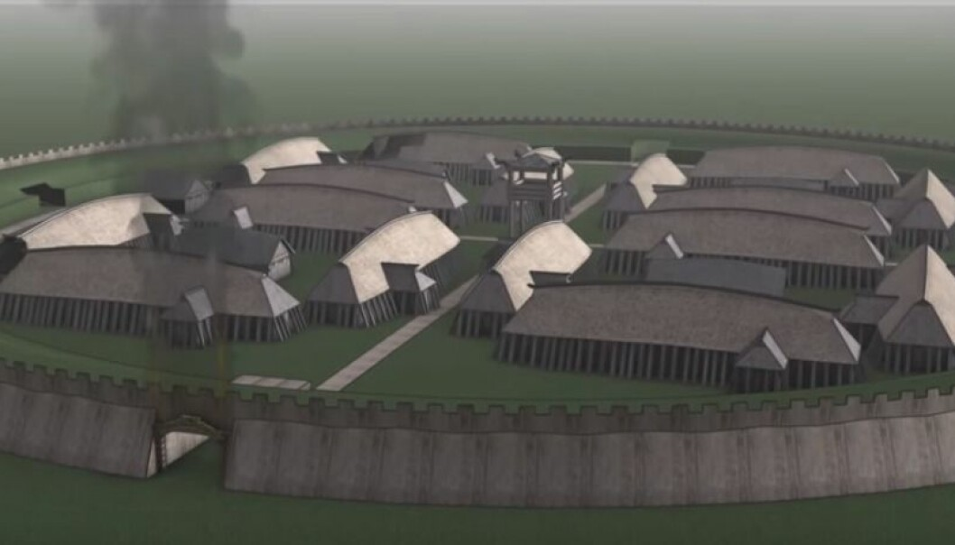 "Someone brought ceramics through the gates at the Viking ring fortress ""Borgring"" after it had burnt down. The discovery reveals an afterlife at the fortress that archaeologists had not previously considered. (Photo: Screenshot from video by Archaeological IT Aarhus University)"