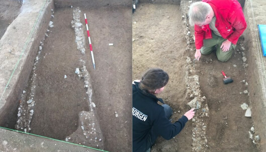 The wheel tracks, found at the north gate of the fortress are littered with pebbles to prevent Viking carts becoming stuck in the ground. (Photo: Nanna Holm)
