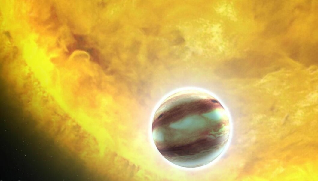A giant planet that orbits close to its sun is called a 'hot Jupiter.' Such a planet can have many layers in its atmosphere. (Illustration: NASA/ESA/G. Bacon (STScI))