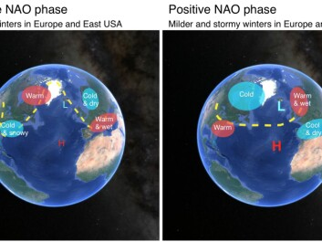 Our climate in Europe and the USA is largely impacted by the NAO. The maps show the typical conditions associated with the two phases of the NAO, which can be either negative (left) or positive (right). The dotted yellow line depicts the jet stream, which flows from west to east. (Illustration: ScienceNordic. Based on an image from the Met Office, UK)