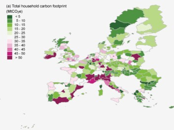 While the average Danish household may have one of the highest carbon footprints in Europe, the total footprint for all households per region is still low compared to more densely populated European countries. (Illustration: Ivanova et al., 2017)