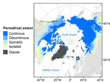 The study area as indicated with a black rectangle belongs to the circum-Arctic permafrost realm and is representative of cold-regions that are especially sensitive to climate change. (Credit: Author provided)
