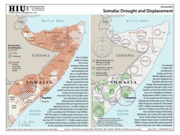Drought and displacement map for Somalia as of May 2017. (Photo: Humanitarian Information Unit, U.S. Department of State)