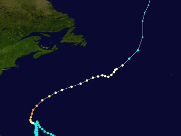 "Storm track of Hurricane Nicole in 2016. Credit: Created by <a href=""https://commons.wikimedia.org/w/index.php?curid=52204945"" target=""_blank"">Cyclonebiskit</a> using WikiProject Tropical cyclones/Tracks. Background image is from NASA. Tracking data from the National Hurricane Center's running best track."