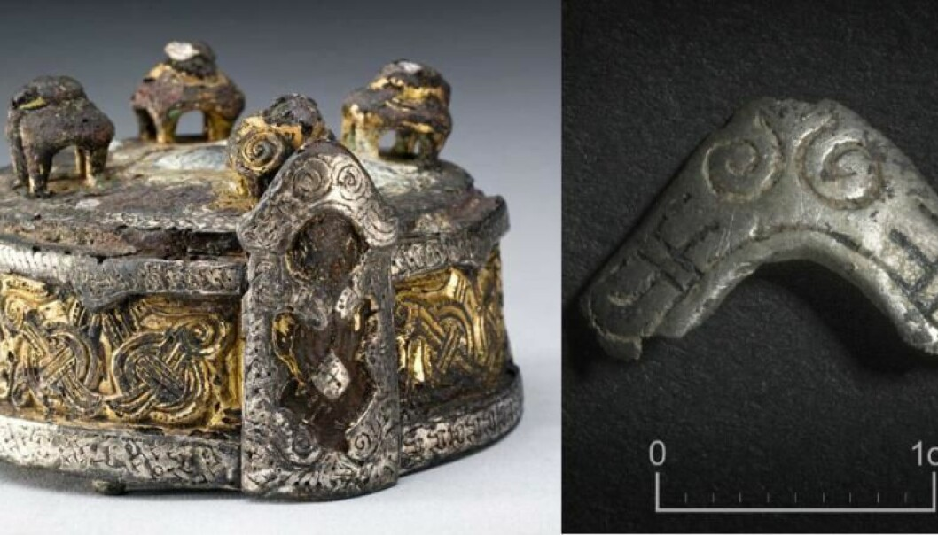 The box brooch on the left was found in a grave at Fyrkat, Denmark. The silver fitting discovered at Borgring, on the right, is almost identical to the ornamentation at the front of the Fyrkat box brooch. (Photo: Nationalmuseet/Museum Sydøstdanmark)