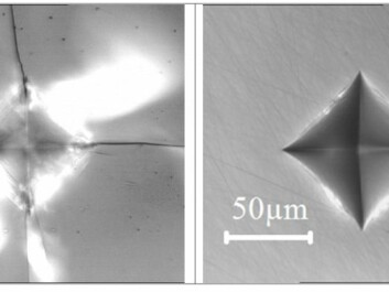 The difference between ordinary window glass (left) and the B2O3-based glass (right) is demonstrated by comparing the imprint of a diamond tip when pressed onto the surface, with a two kilogram weight. The images have the same scale. (Photos: Kacper Januchta)