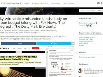 "Some media coverage was judged as having ""very low"" scientific accuracy by fact checking website climatefeedback.org, where scientists ""peer review"" climate journalism. (Photo: Screen capture)"