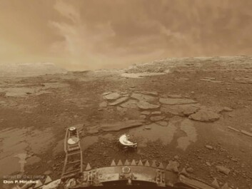 The first photograph of Venus' sulphuric acid surface and atmosphere, taken on the 22nd October 1975 by a Russian space probe. (Photo:  Venera-9 lander, Russian Space Agency)