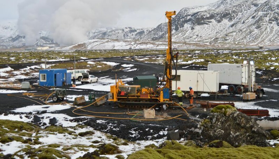 Unlike the more fanciful geo-engineering approaches, such as deploying large mirrors into space to reflect the sun's energy, we know that Carbon Capture and Storage works. Here is a test site in Iceland where thousands of litres of CO2 gas have been pumped into basaltic rocks where it solidifes to limesstone in two years. (Photo: Juerg Matter)