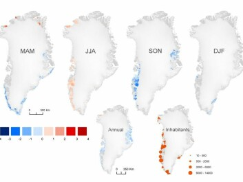 The mean annual temperature around Greenland shows a slight fall in some places in the past 15 years. Looking at the average of each season shows most cooling in the autumn (September, October, November, SON) and warming in the summer (June, July, august, JJA). (Illustration: Study)