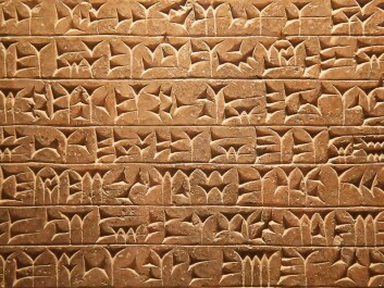 The text is written in cuneiform script--a system of writing that was in use for many thousands of years. A number of different languages and dialects used the system between the 4th millennium BCE and 100 CE. (Photo: ColourBox)