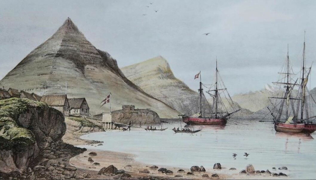 The harbour in Djupivogur, Iceland, where Hans Jonatan arrived in 1802. Now 38 per cent of his genetic material has been reconstructed. (Illustration: Auguste Mayer, 1836)