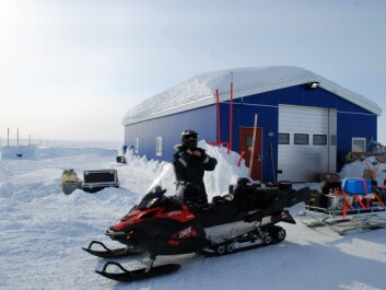 The researchers have to transport their equipment to the ice from Villum Research Station with snowmobiles. (Photo: Stine Højlund Pedersen)