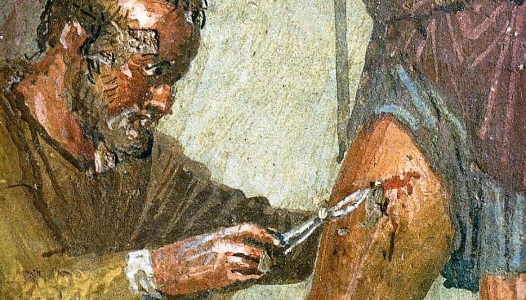 "The doctor Japyx heals Aeneas' wounded leg. Ancient Roman fresco from the ""House of Sirico"" in Pompeii, Italy, mid 1st century. On display at the Museo Archeologico Nazionale (Naples). (Photo: Wikimedia Commons)"