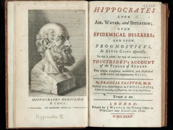 Engraving of a bust of Hippocrates and the title sheet in an English translation of his main work. (Illustration by Peter Paul Rubens after Gerard van der Gucht. J. Watts, London 1734. Wellcome Collection, London, L0041093)