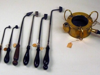 Cauteries and a braizer. These items were used at the Royal Frederik's Hospital in Copenhagen until a couple of hundred years ago. Stenomuseet cat.no. 76071. (Photo: Ole Sonne)