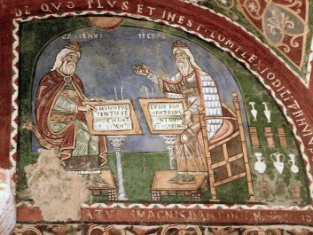 Galen and Hippocrates together even though Galen was born 500 years after the death of Hippocrates. Fresco from the twelth century, Anagni, Italy. (Photo: Nina Aldin Thune, Wikimedia Commons)